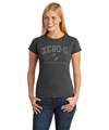 Ladies Distressed Print Tee - Charcoal